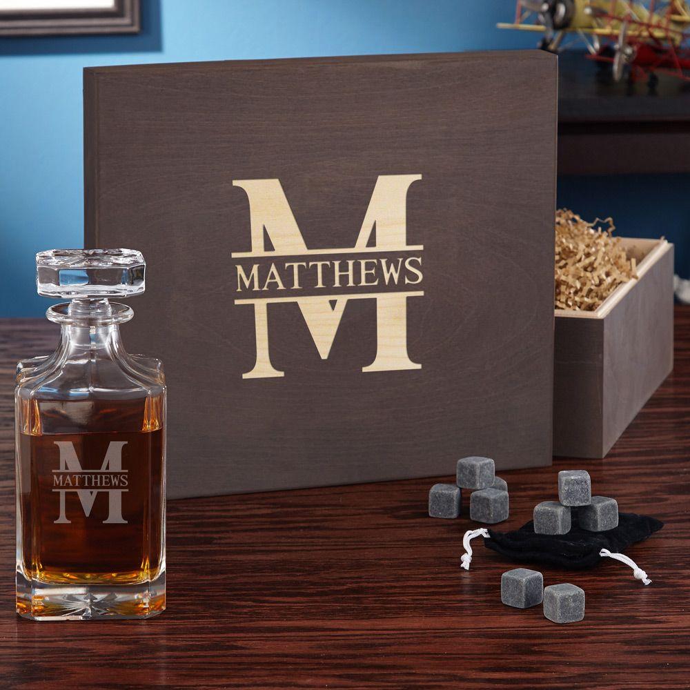Oakmont Personalized Whiskey Set with Wood Gift Box