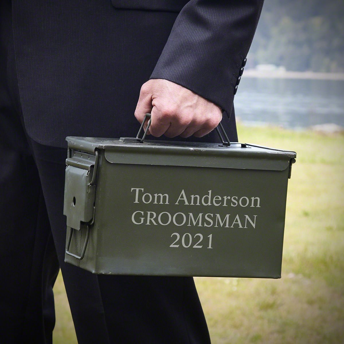 50 Caliber Ammo Box Can with Custom Engraving