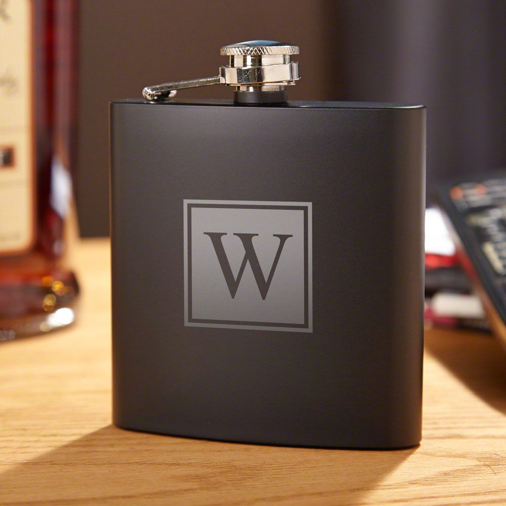 Blackout Block Monogram Liquor Flask
