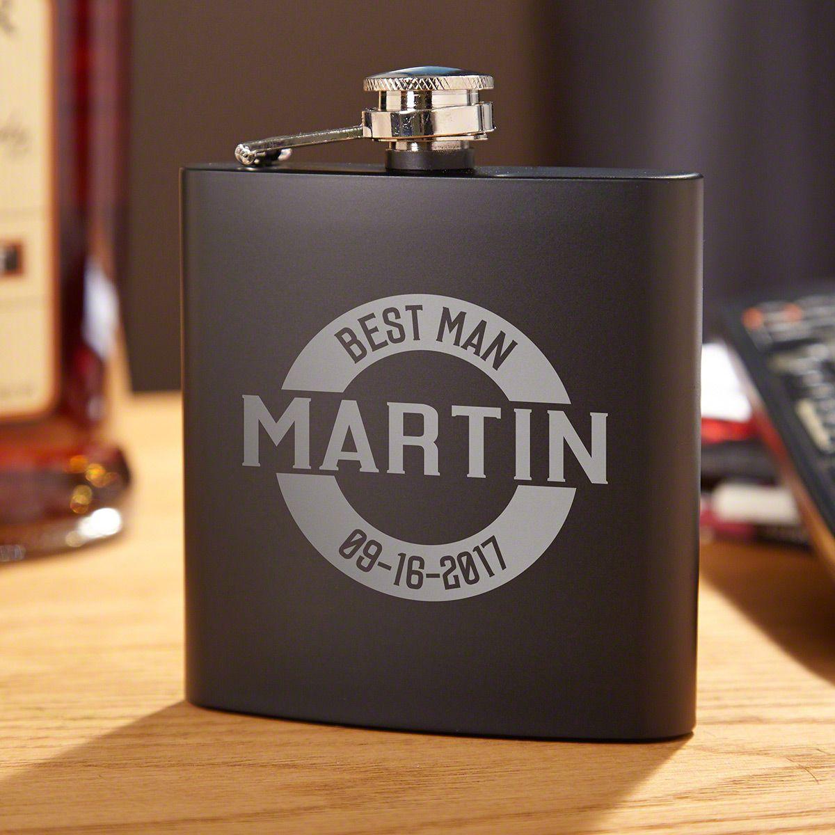 Arlo Matte Black Engraved Flask