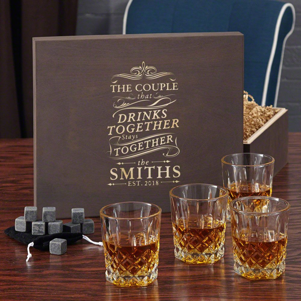 Drink Together Stay Together Rocks Glass and Whiskey Stone Gift Box