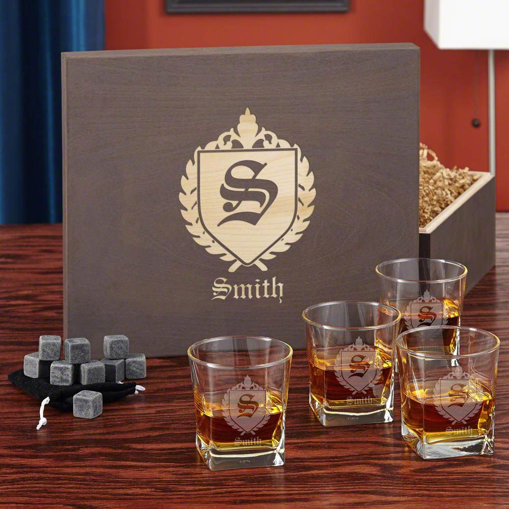 Oxford Monogram Whiskey Stone Gift Box Set