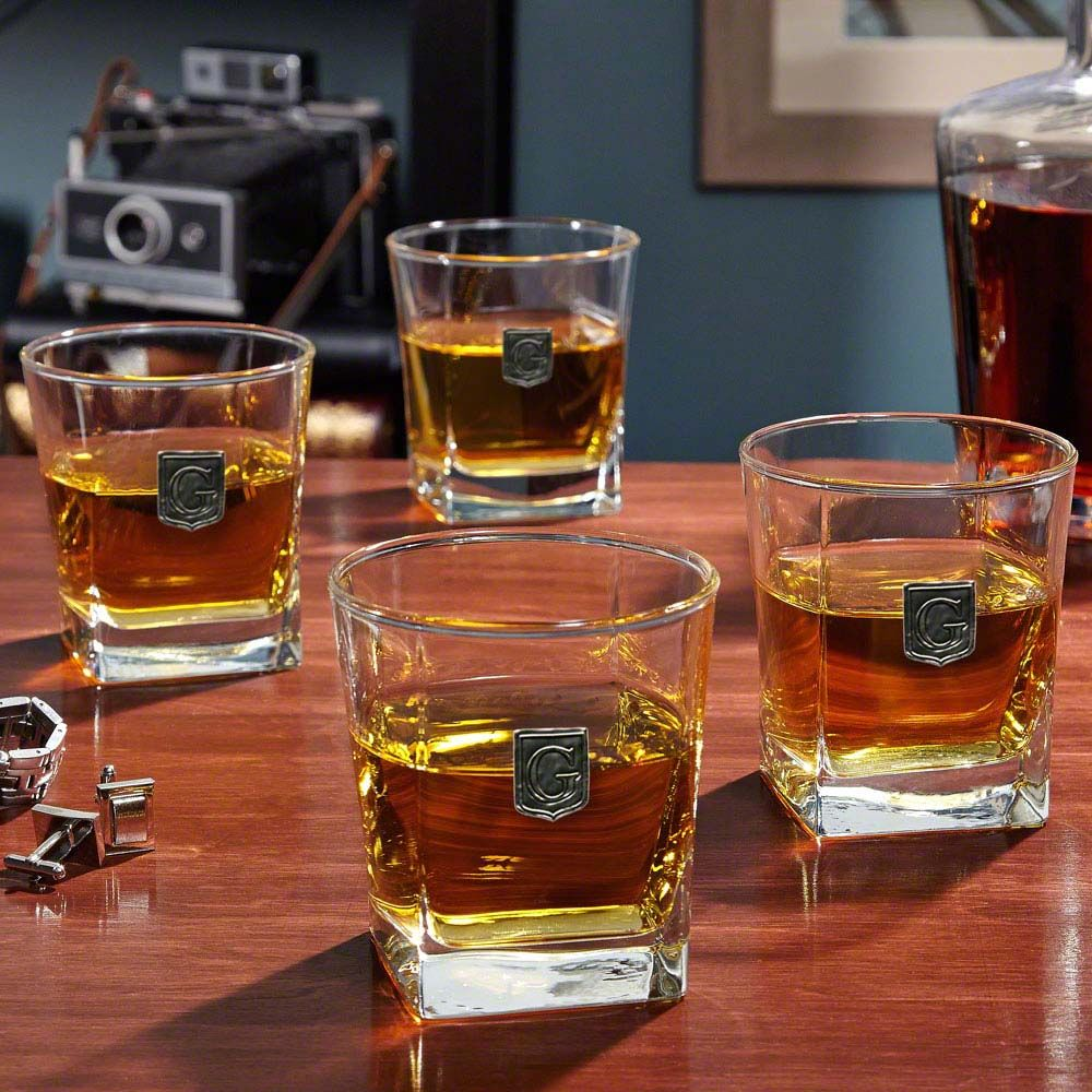 Regal Crested Rutherford Whiskey Glasses, Set of 4