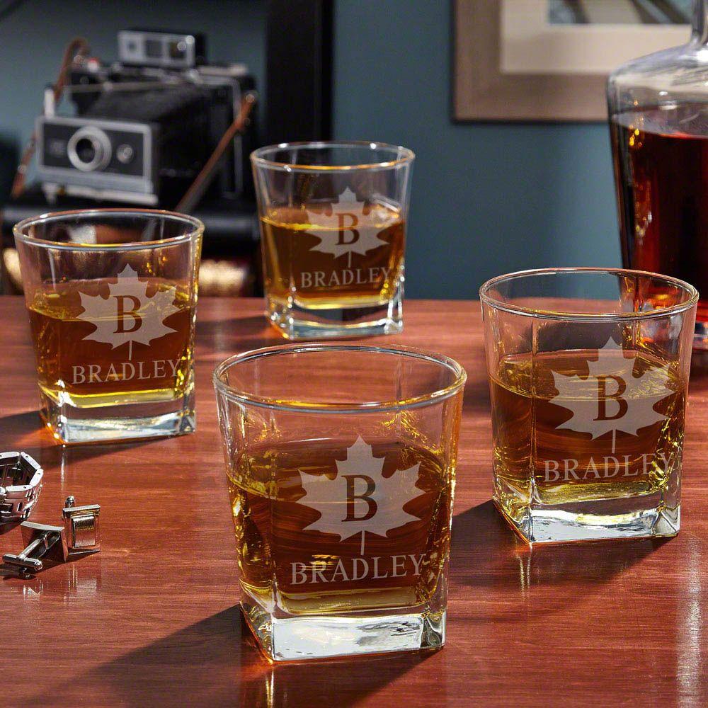 Maple Leaf Engraved Whiskey Glasses, Set of 4