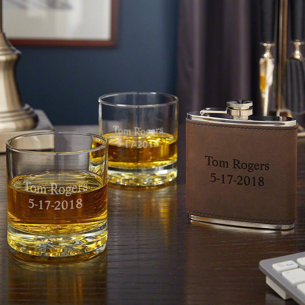 Set of 2 Buckman Whiskey Glasses and Custom Fitzgerald Flask