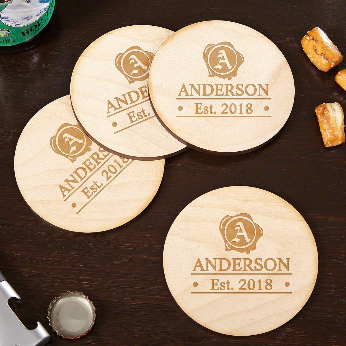 Wax Seal Handcrafted Drink Coasters, Set of 4