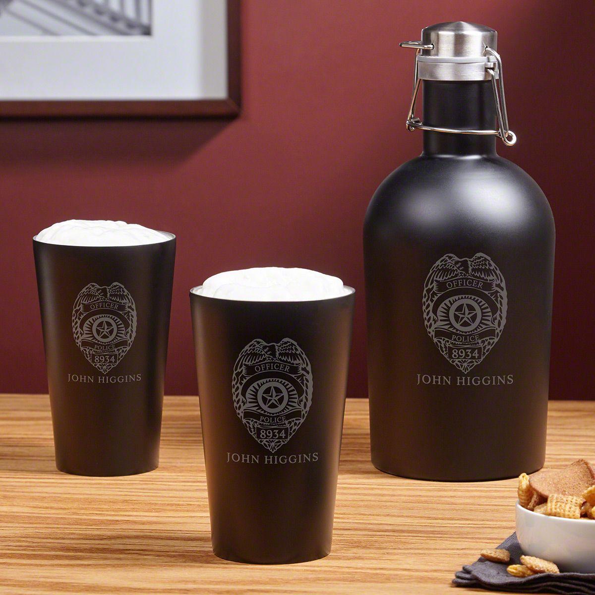 Police Badge Custom Beer Growler and Glass Set