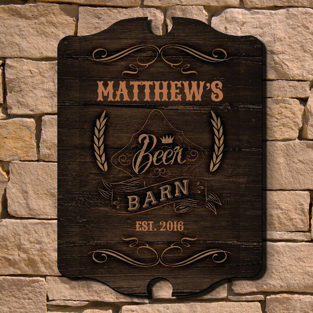 Beer Barn Personalized Wood Sign
