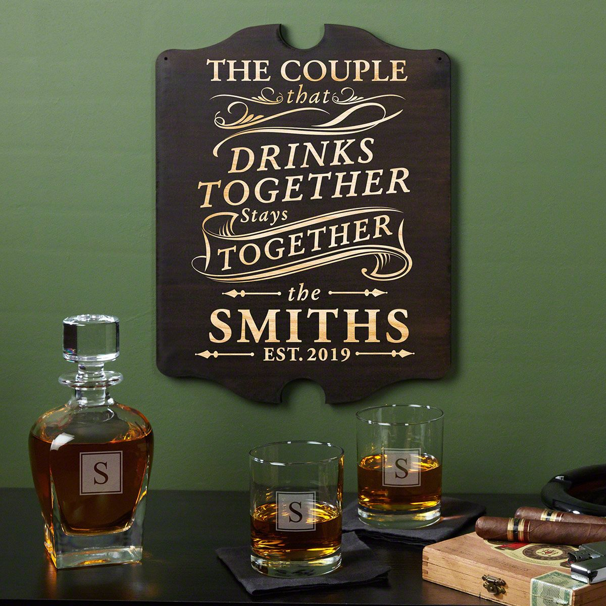 Drink Together Stay Together Wall Decor & Engraved Glassware Set