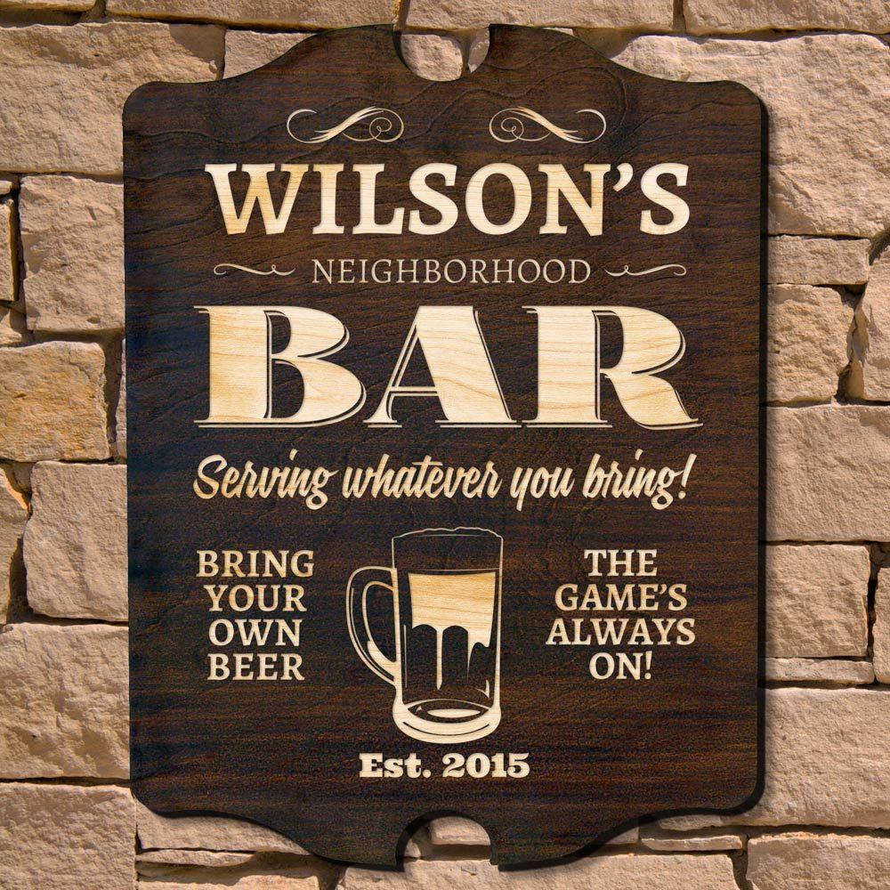Neighborhood Bar Personalized Sign (Signature Series)