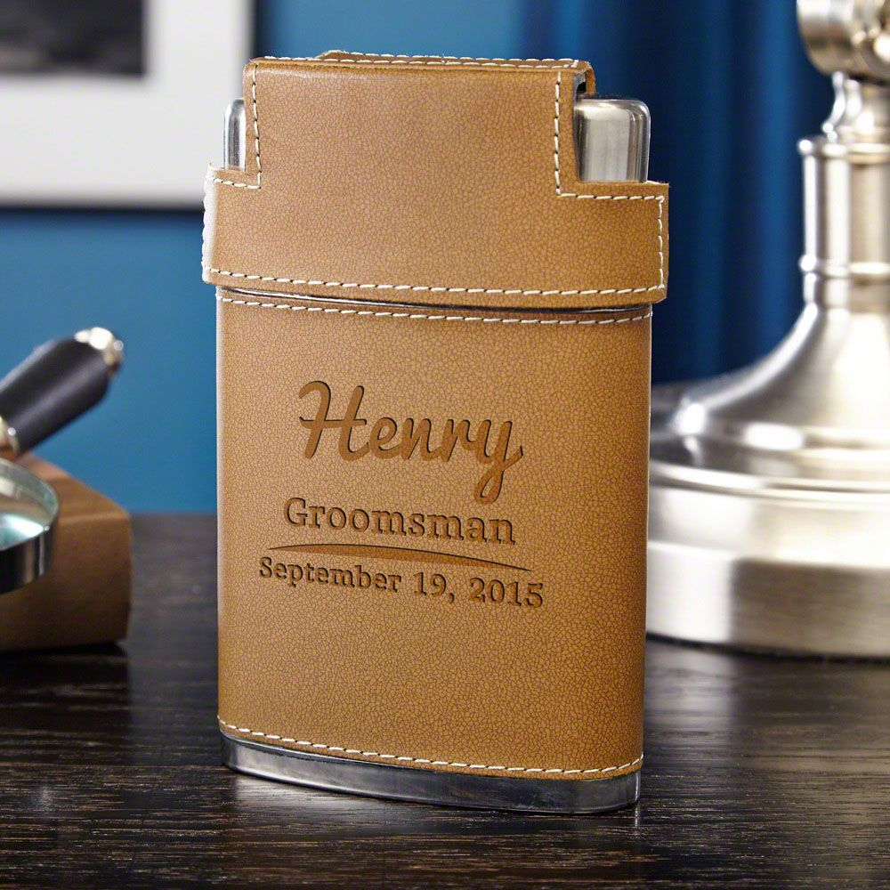 The Big Day Engraved Flask and Shot Glass Set