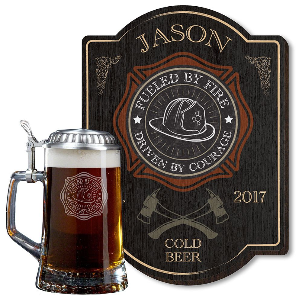 Fueled by Fire Beer Stein and Custom Sign for Firefighters