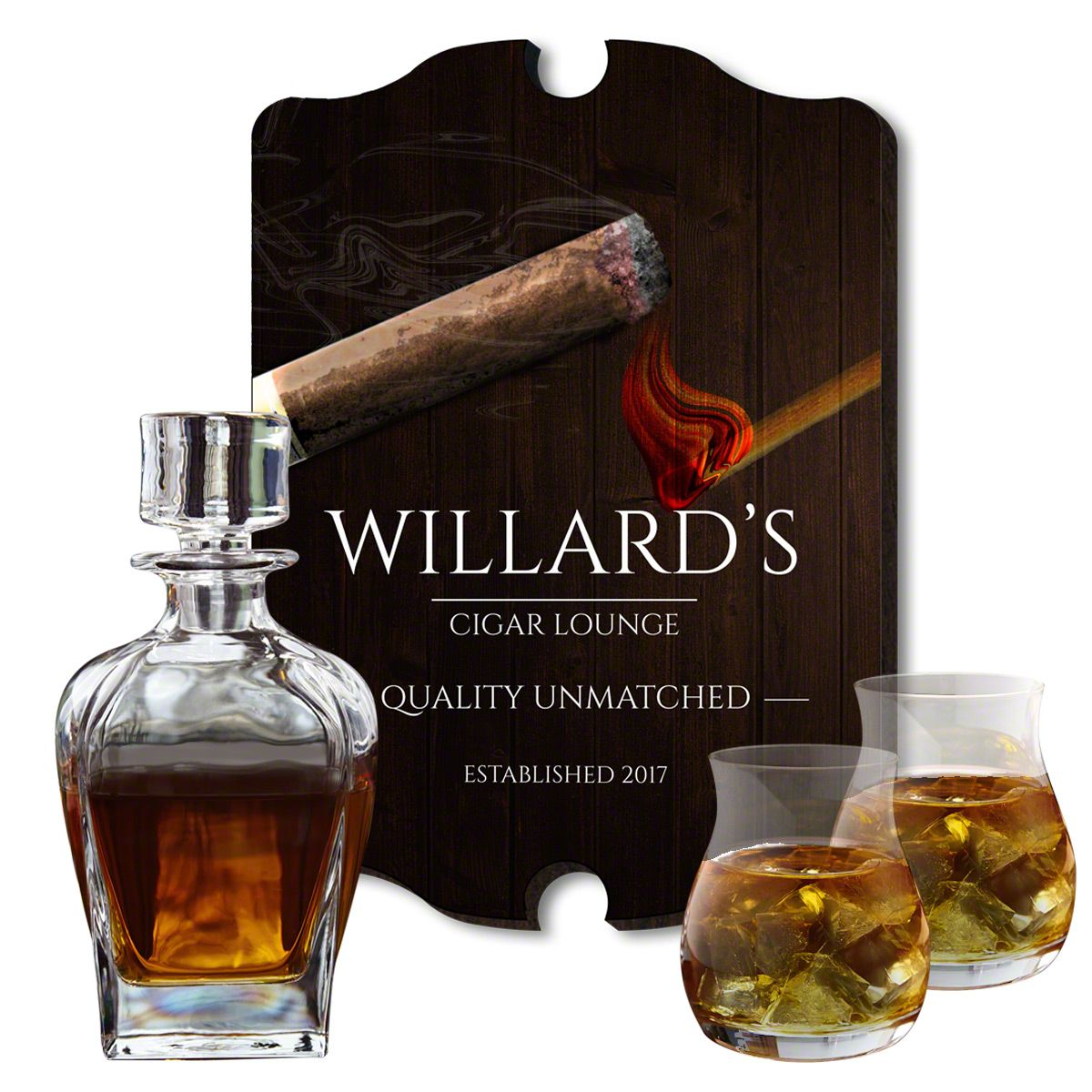 Unmatched Personalized Sign and Decanter Set