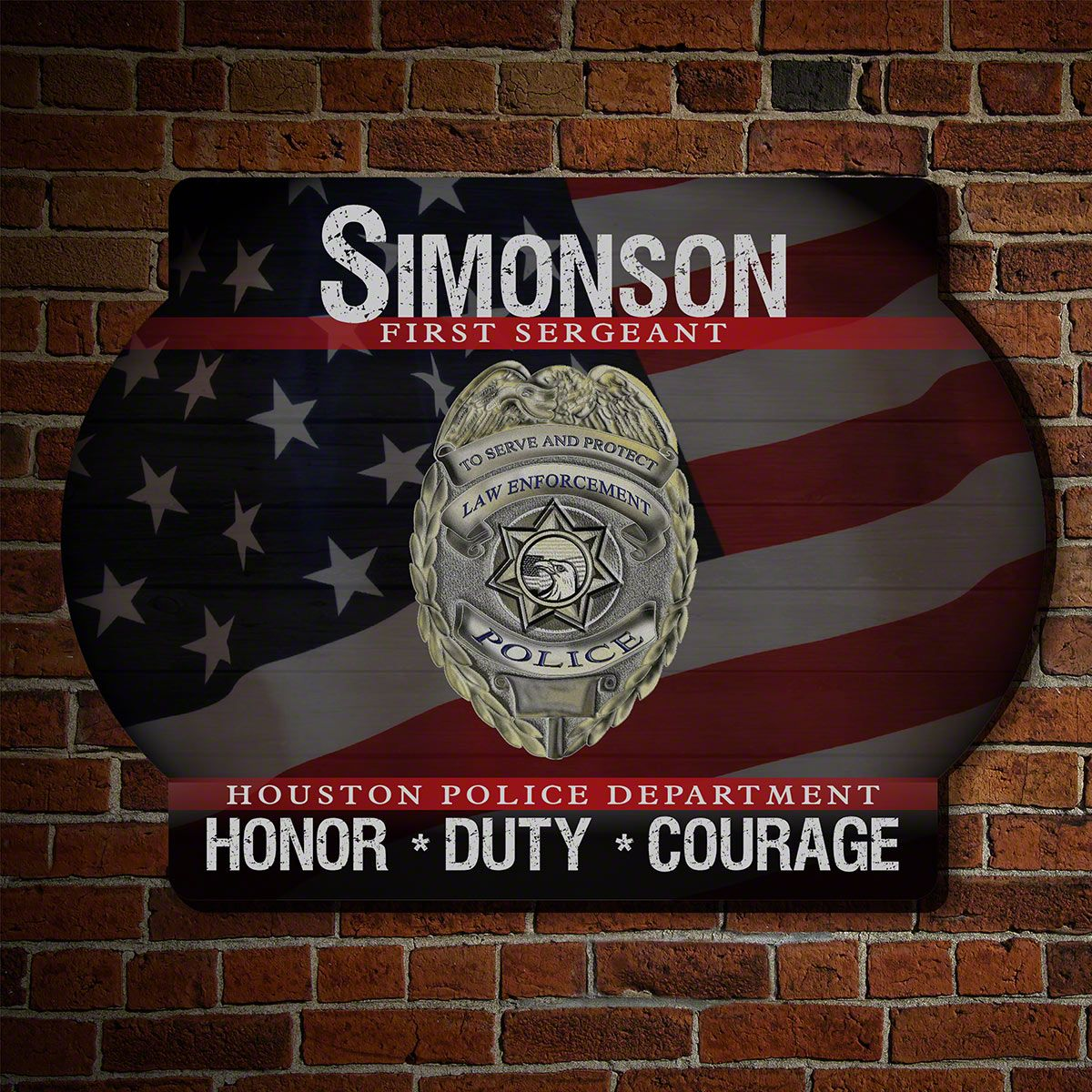 Honor Duty Courage Personalized Police Sign