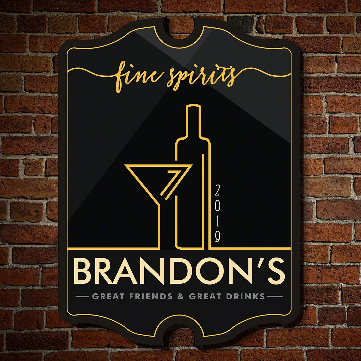 Fine Spirits Personalized Wood Bar Sign