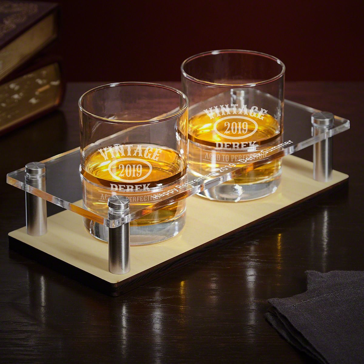 Aged to Perfection Wooden Bar Tray with Engraved Glasses 3 pc Set