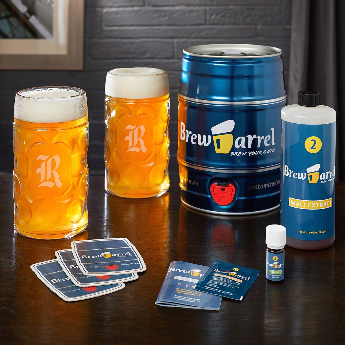 Brew Barrel Beer Making Kit and Custom Oktoberfest Beer Stein Set
