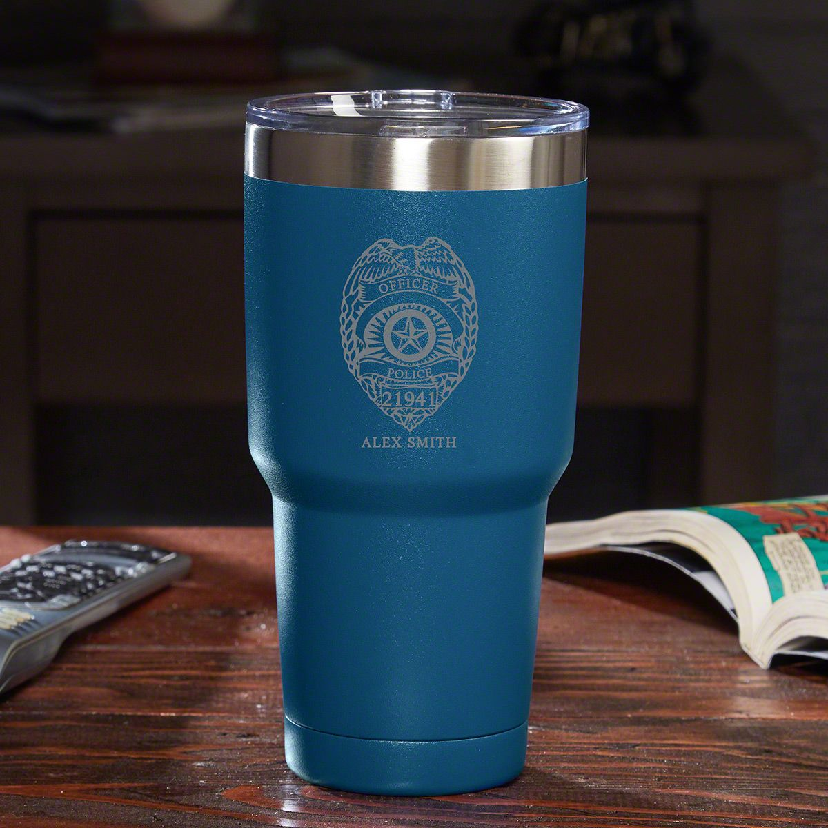 Police Badge Personalized Travel Mug - Blue