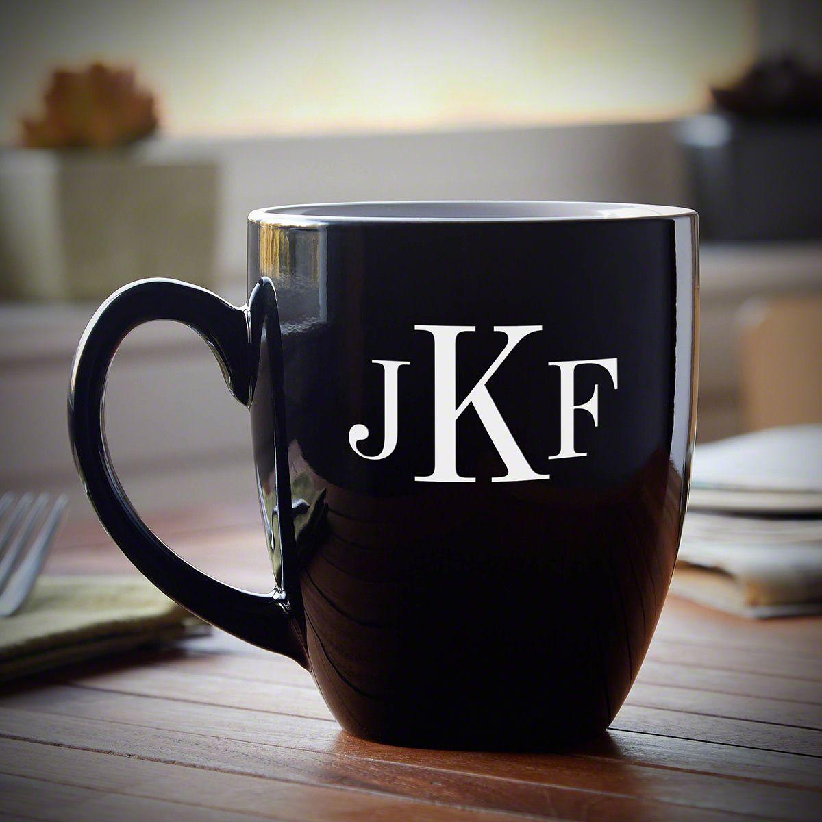Classic Monogram Personalized Coffee Mug, Black