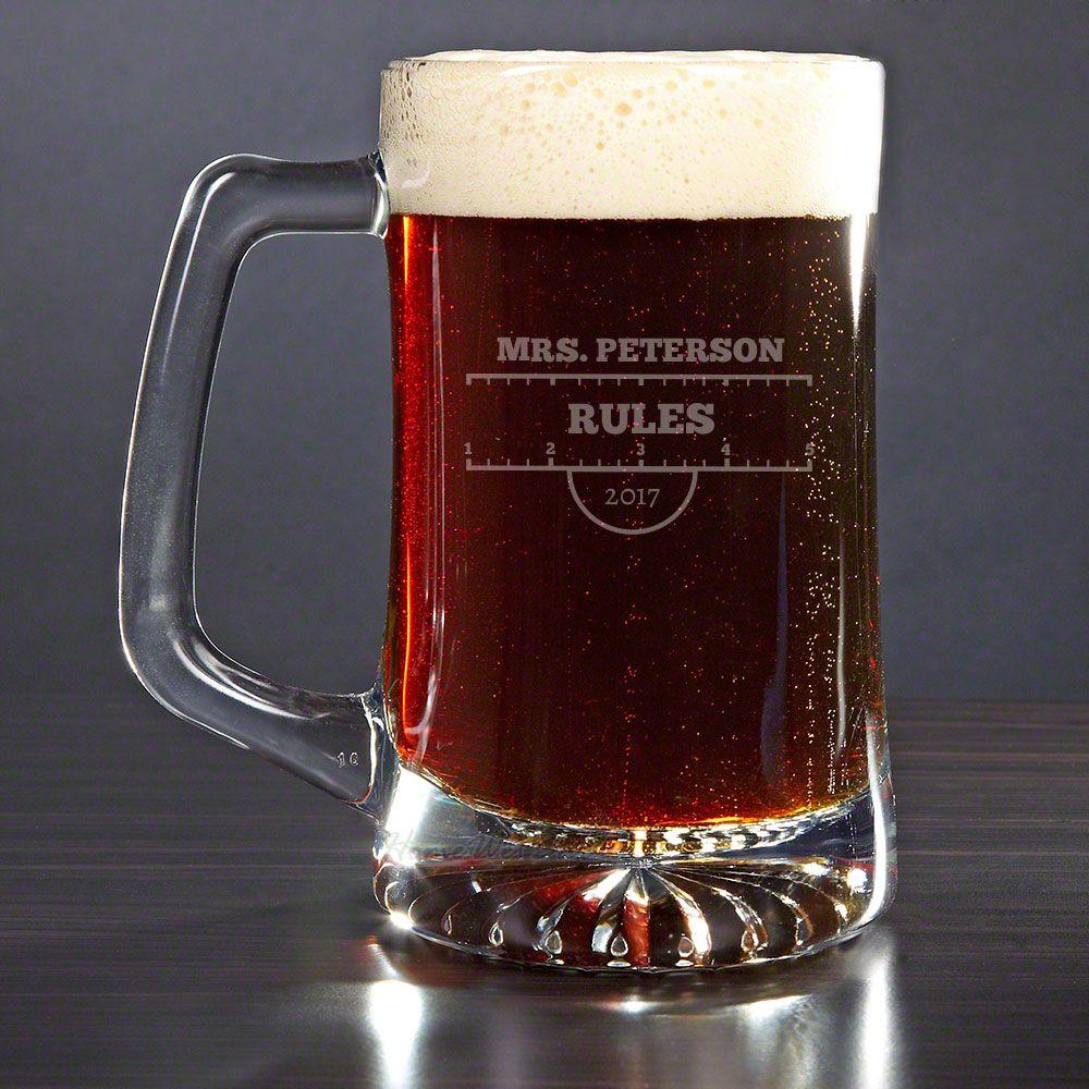 Teachers Rule Personalized Beer Mug
