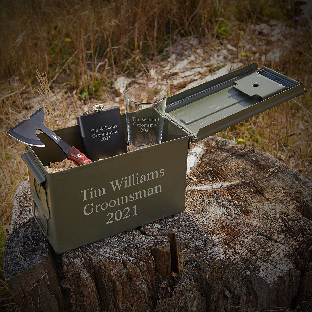 Personalized Hatchet and Ammo Can Groomsman Gift Set