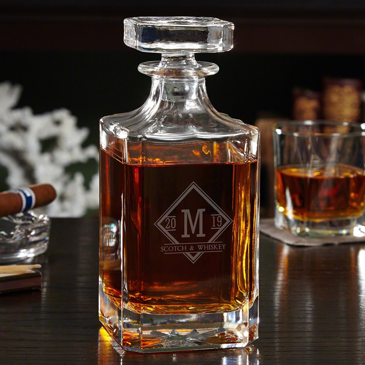 Drake Engraved Glass Liquor Decanter