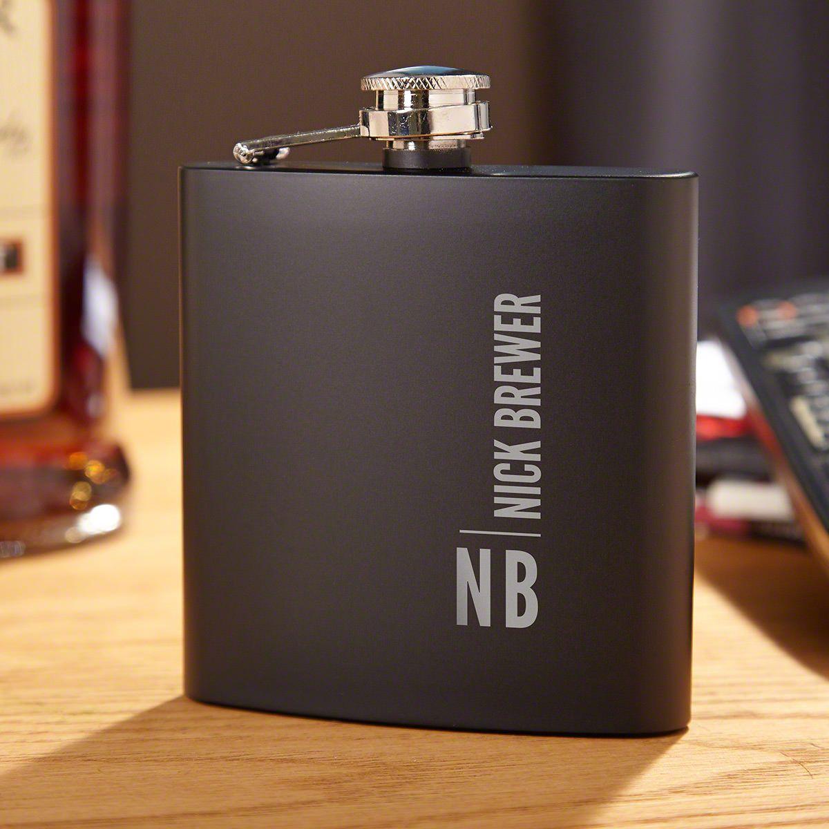 Calvin Personalized Black Flask