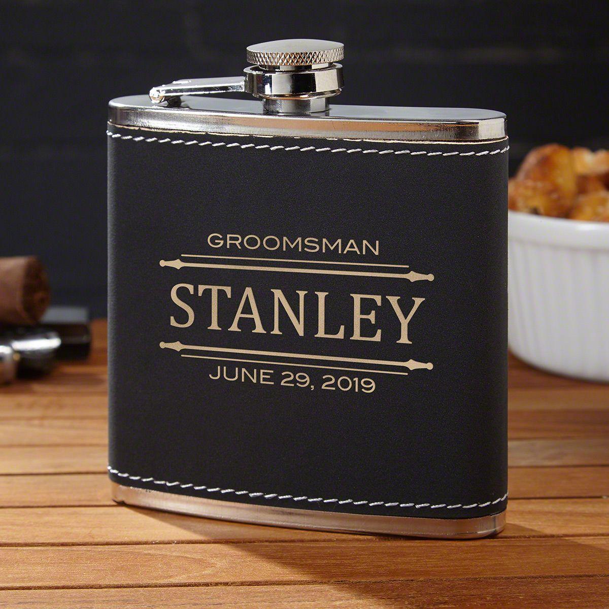 Stanford Engraved Black Hip Flask Groomsmen Gift