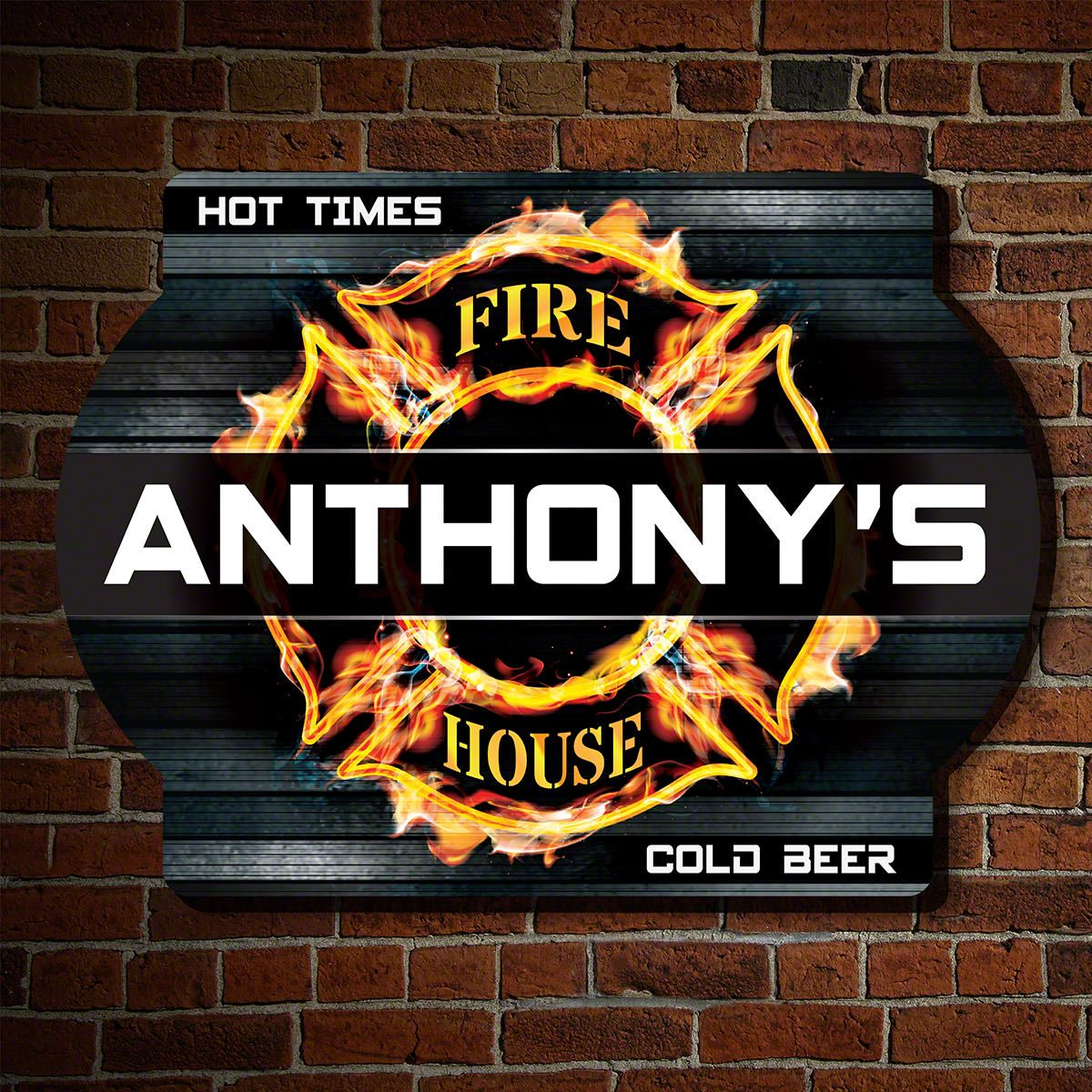Fire & Flame Personalized Sign for Firefighters