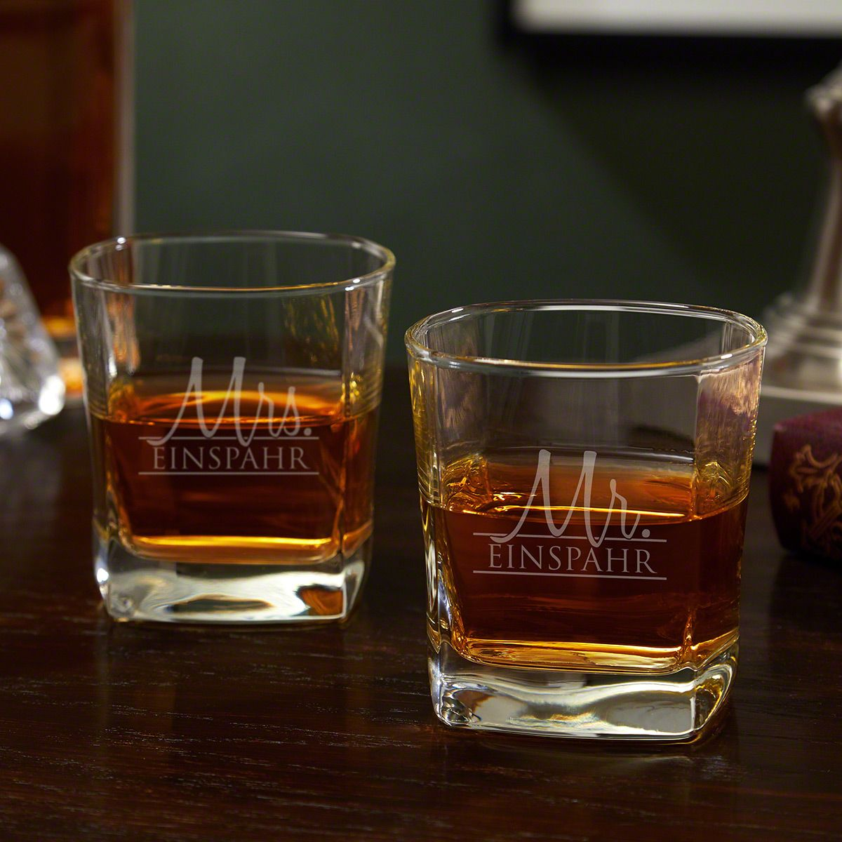 Wedded Bliss Square Whiskey Glass Set Couples Gift