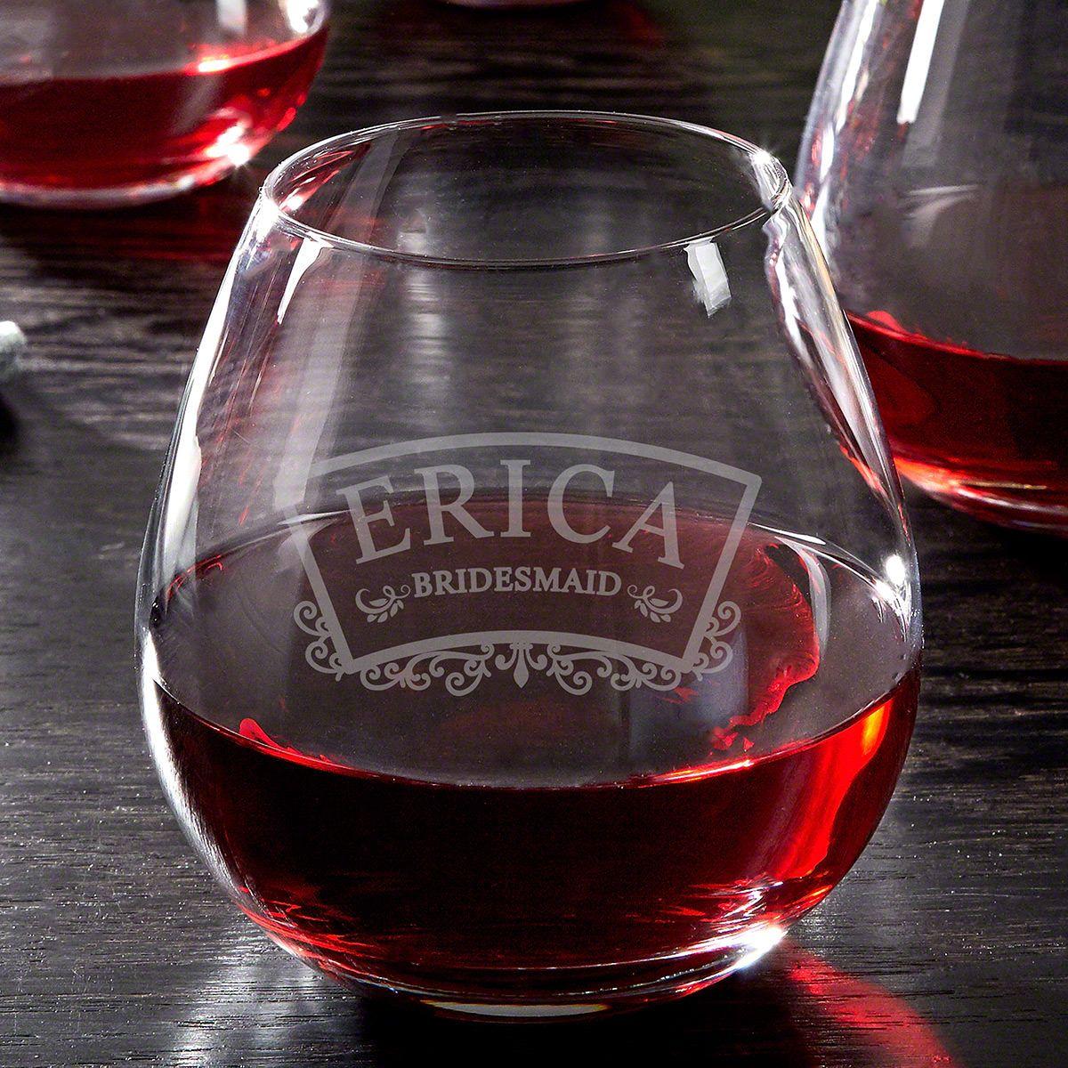 Timeless Wedding Custom Stemless Wine Glass