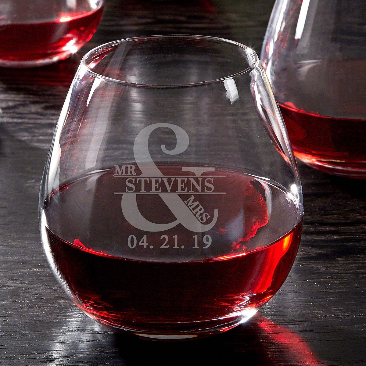 Love & Marriage Personalized Stemless Red Wine Glass