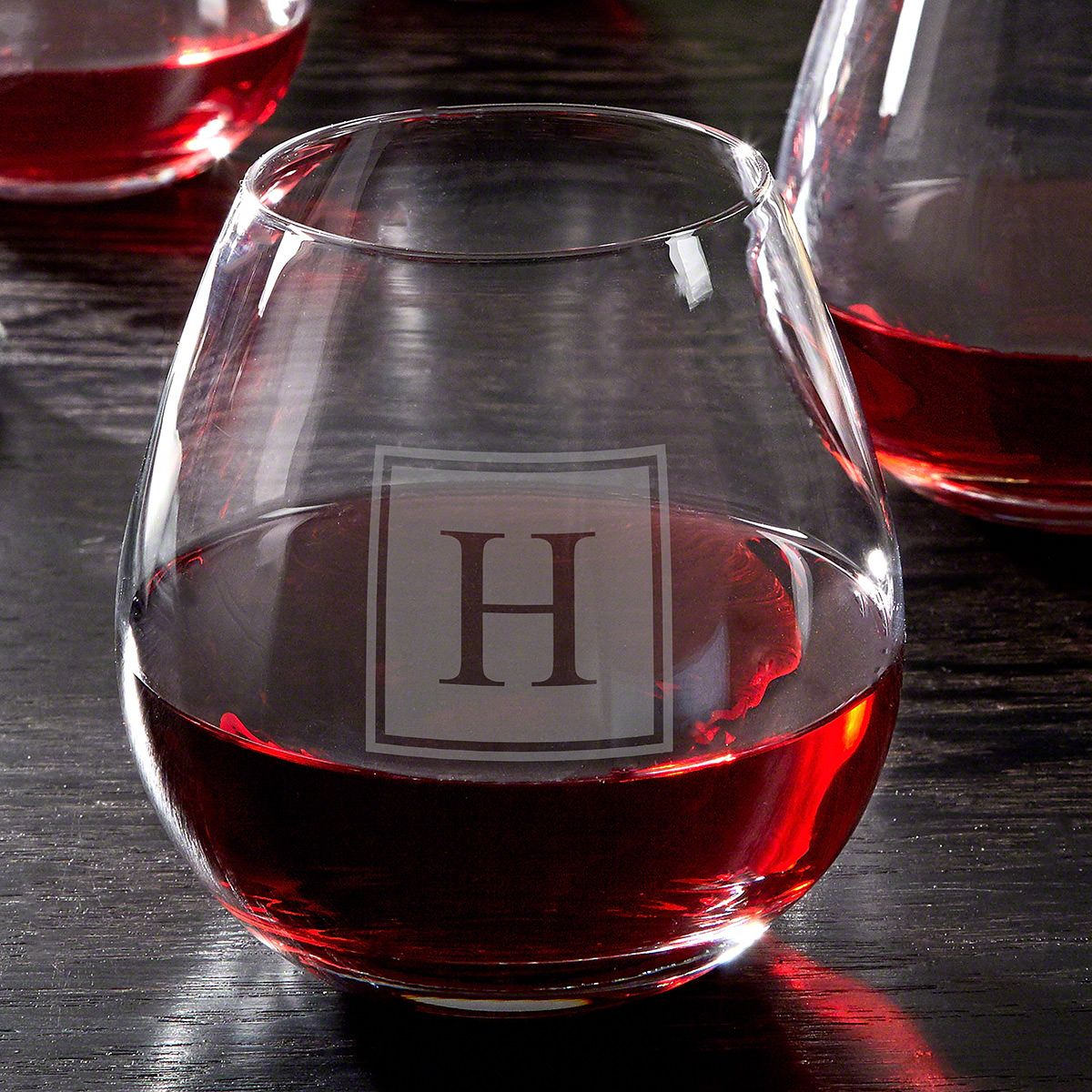 Block Monogram Custom Stemless Wine Glass