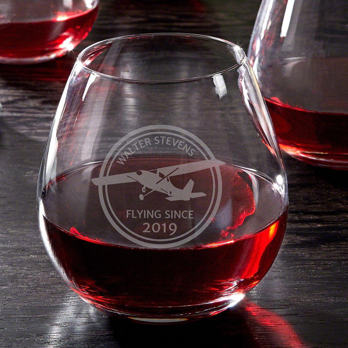 Aviator Custom Engraved Stemless Wine Glass