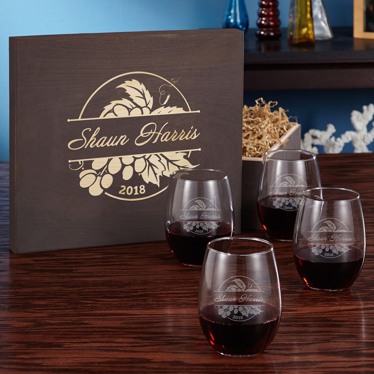 Rhone Valley Engraved Stemless Wine Glass Gift Box Set