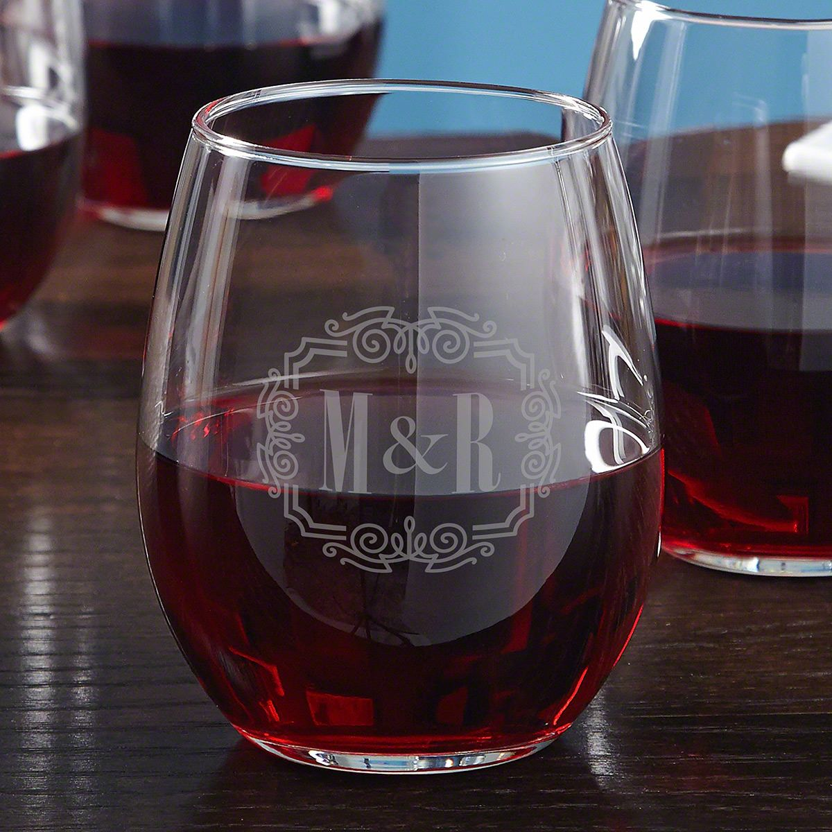 You & Me, Together Forever Personalized Stemless Wine Glass