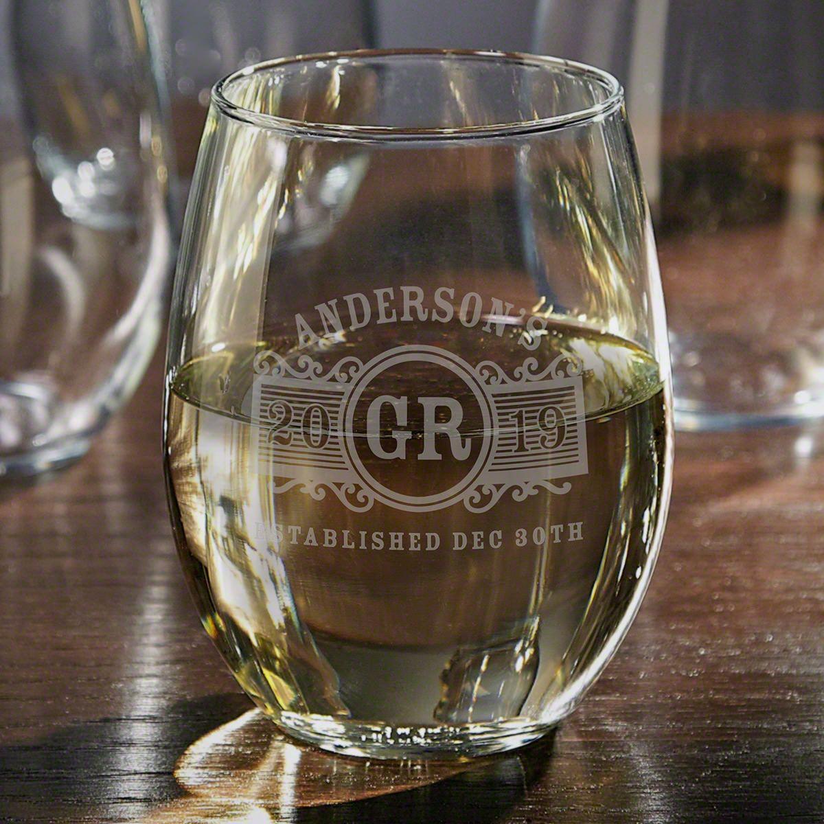 Marquee Custom Stemless White Wine Glass