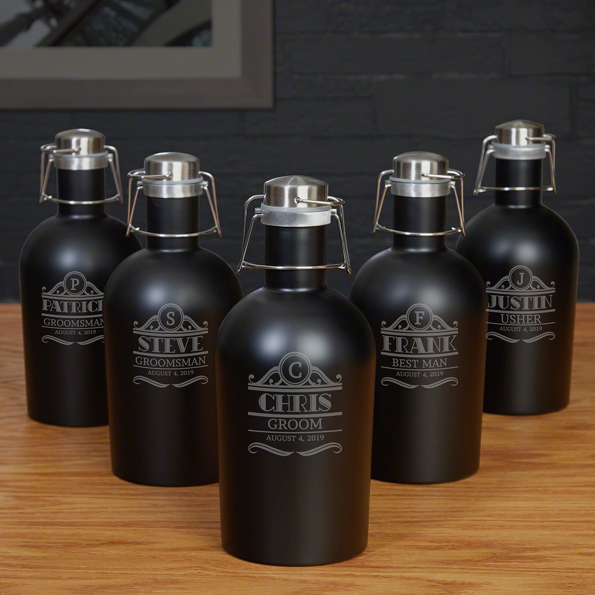Rockefeller Personalized Growler - Groomsmen Set for 5