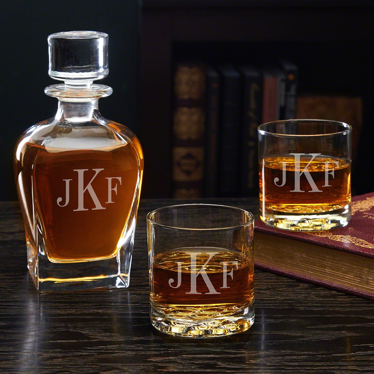 Classic Monogram Engraved Decanter and Whiskey Glass Set