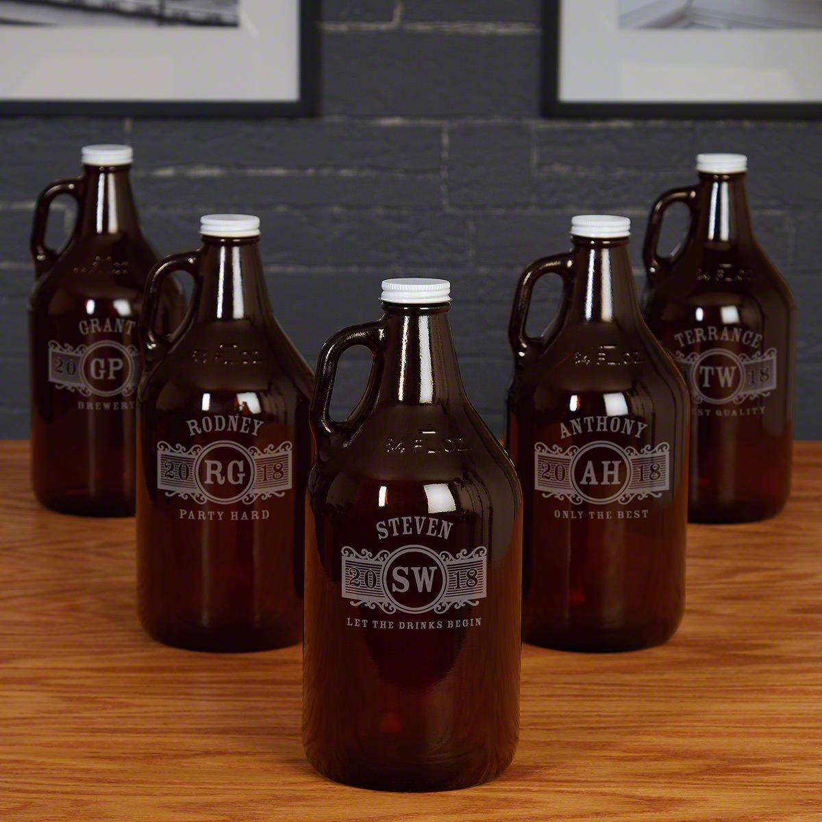 Marquee Amber Custom Beer Growlers for Groomsmen – Set of 5