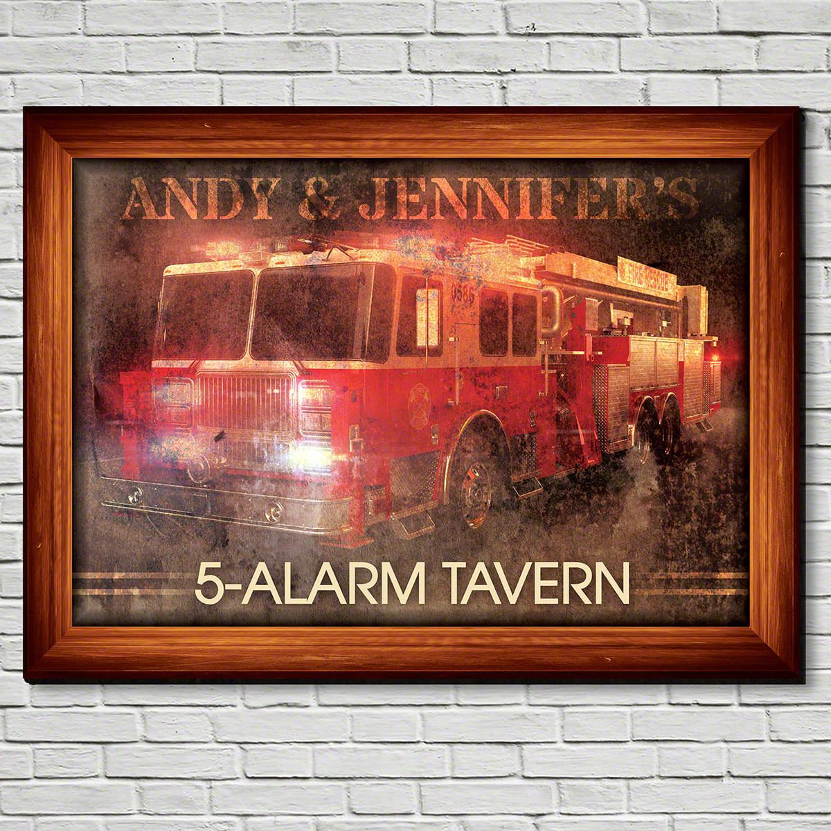 Red Hot Ride Personalized Firefighter Gift Color Sign