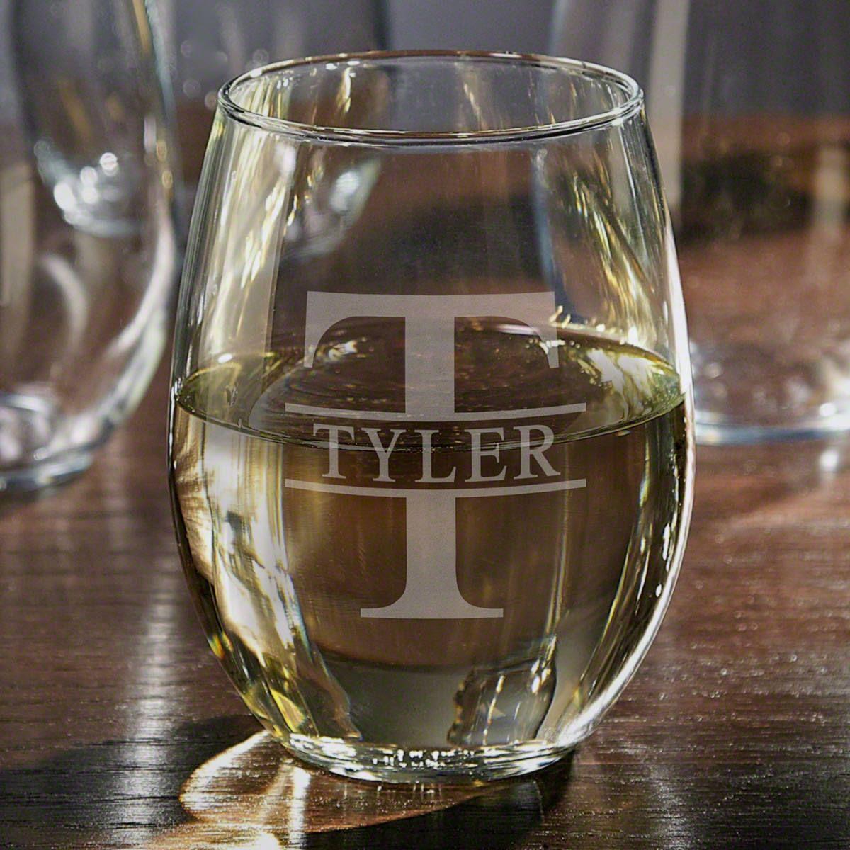 Oakmont Stemless Custom Engraved Wine Glass