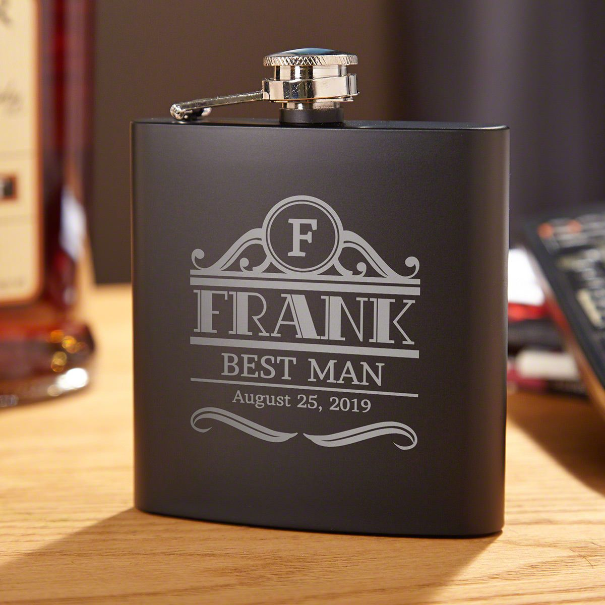 Rockefeller Personalized Black Flask