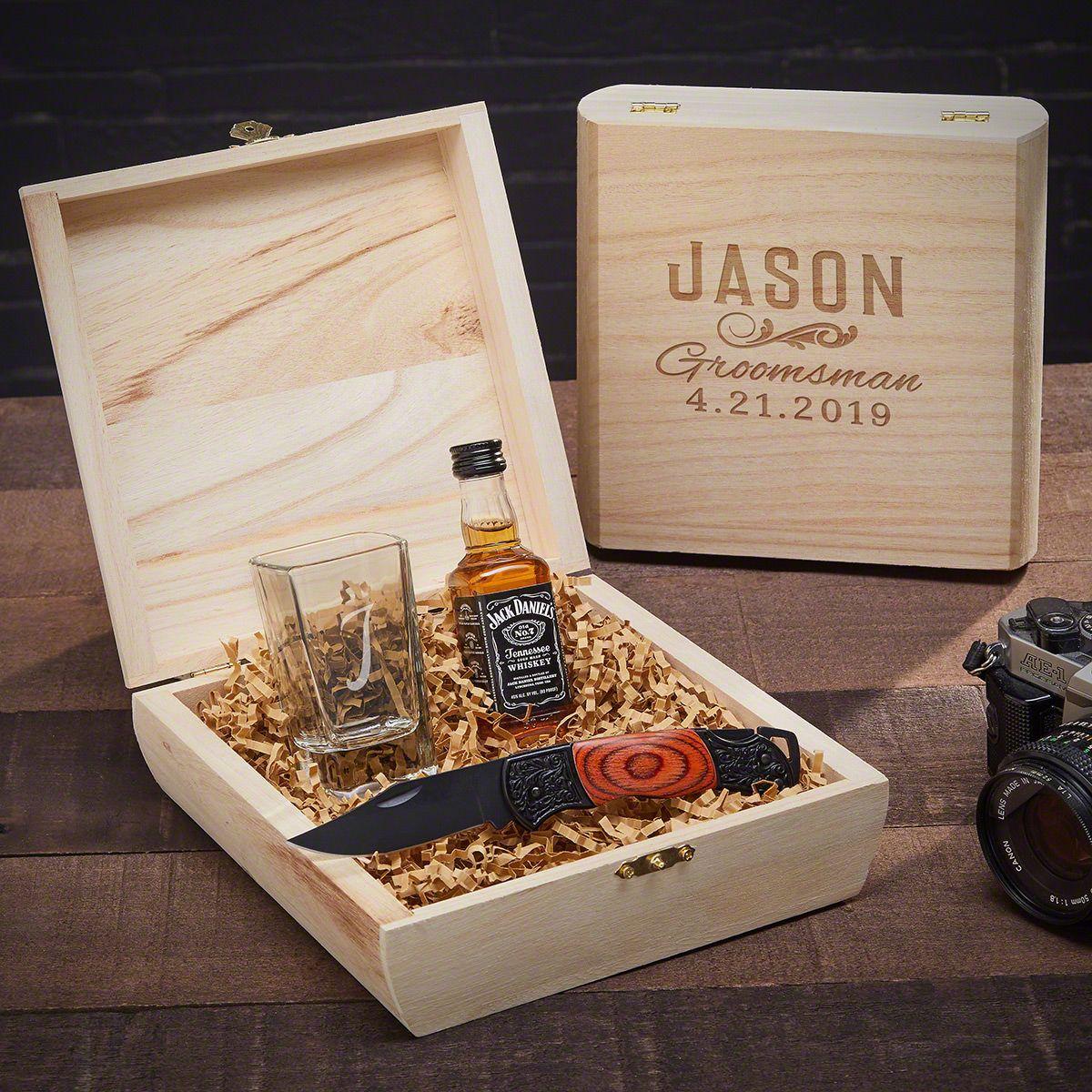 Classic Groomsman Double Shot Glass Personalized Gift Box