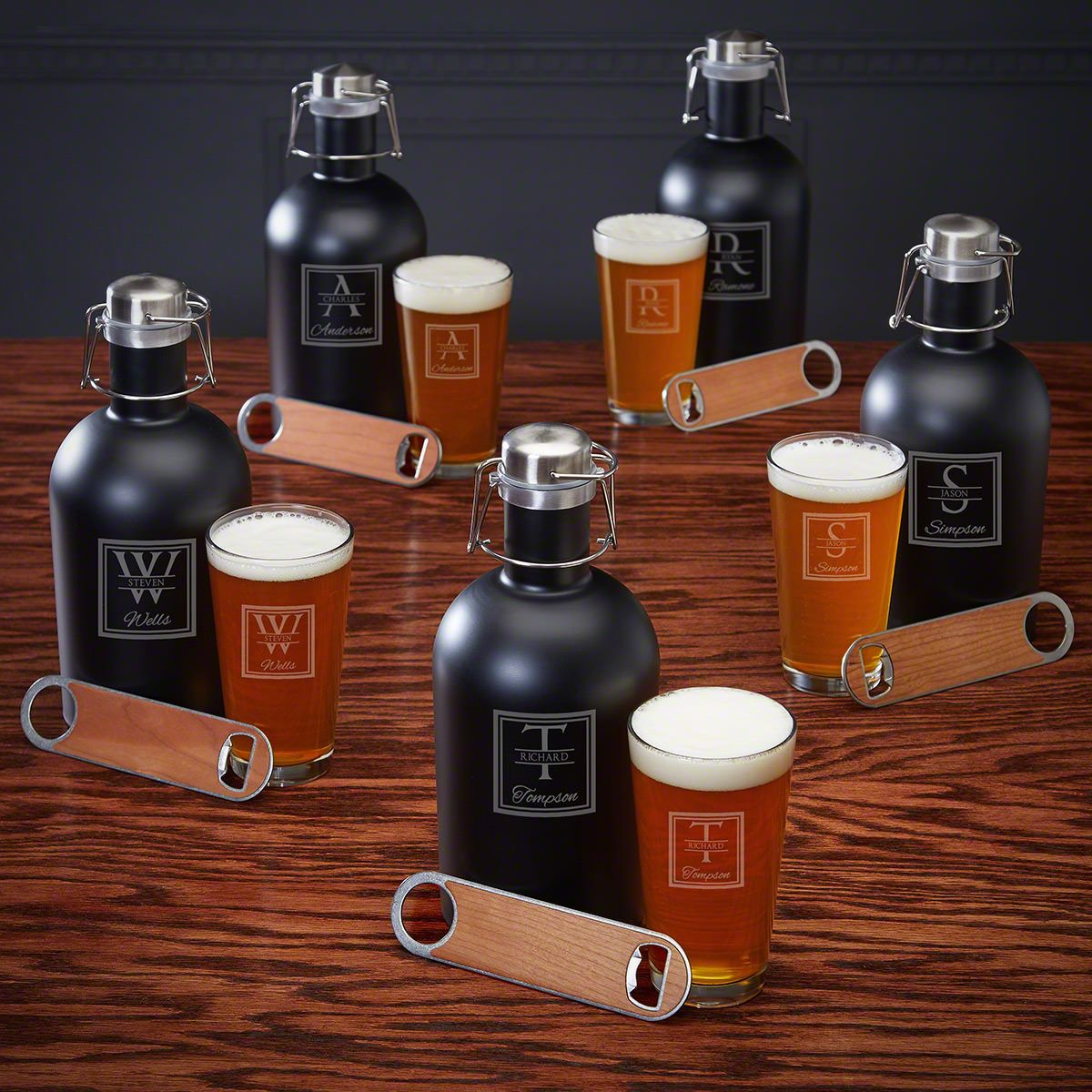 Oakhill Custom Growler Set – 5 Beer Gifts for Groomsmen