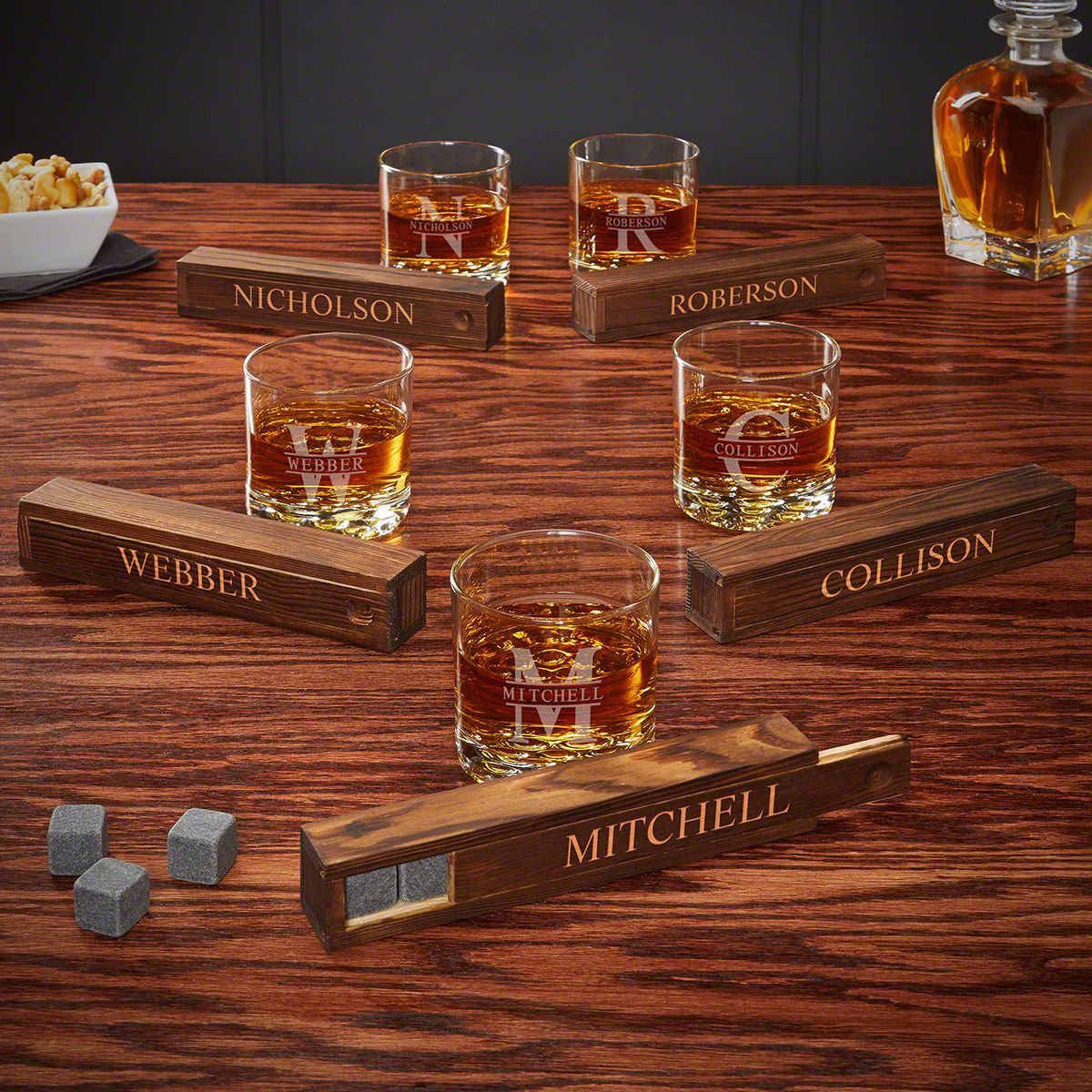 Oakmont Whiskey Stone Gift Set of 5 Personalized Groomsmen Gifts