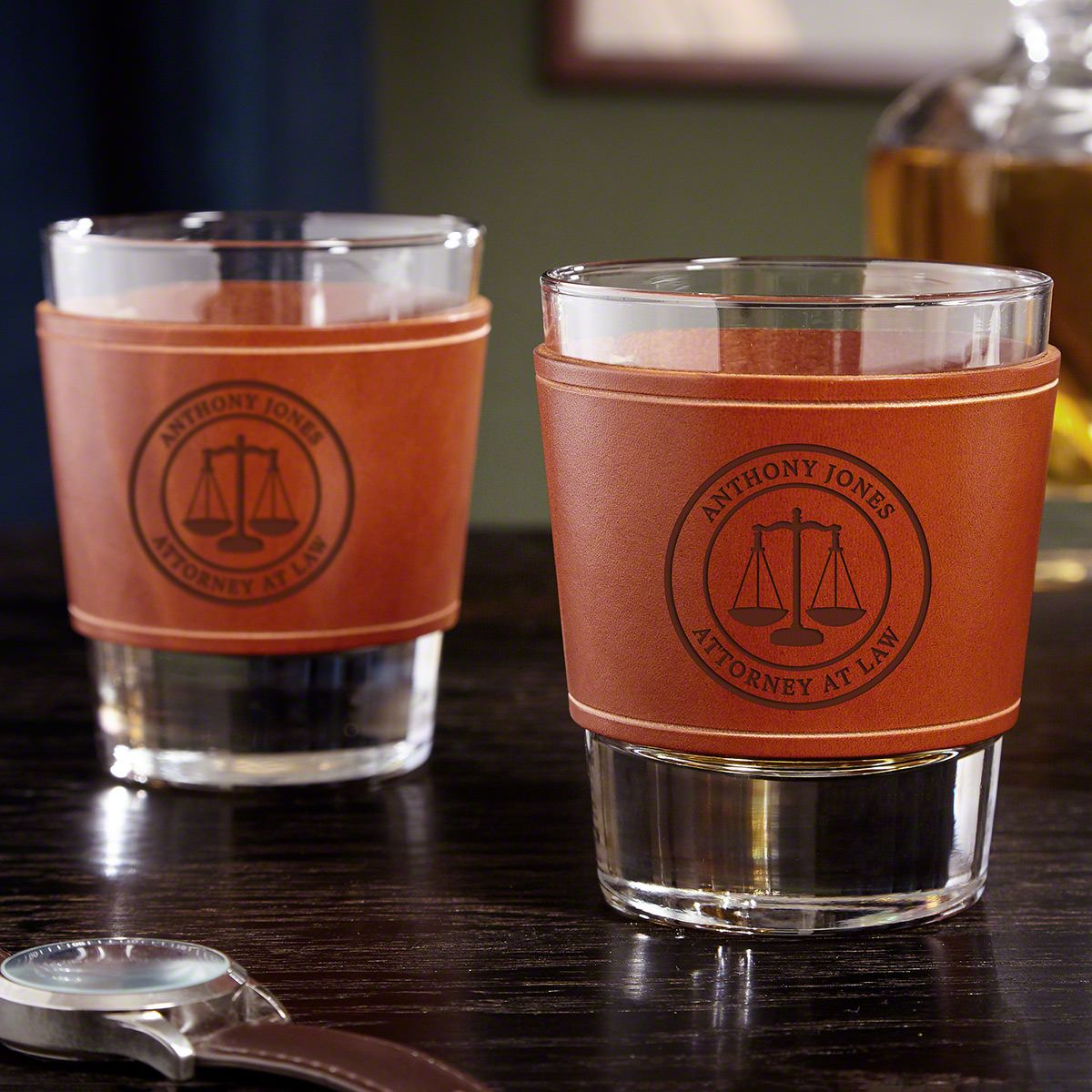 Scales of Justice Leather Wrapped Custom Whiskey Glasses - Gift for Lawyers