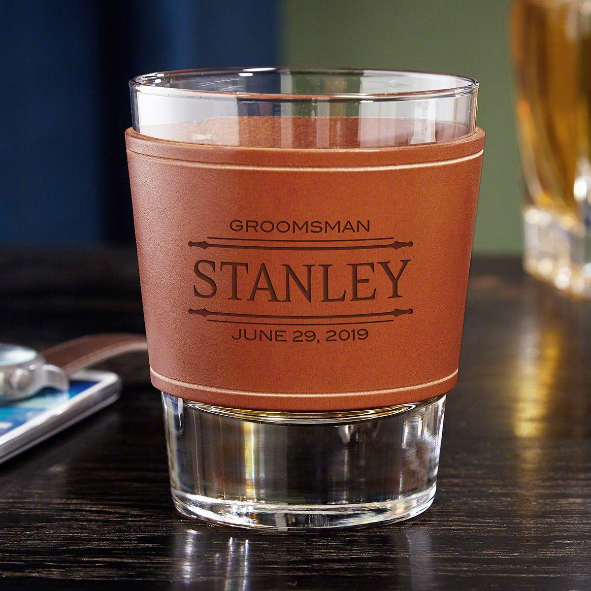 Stanford Custom Leather Wrap Whiskey Glass - Gift for Groomsmen