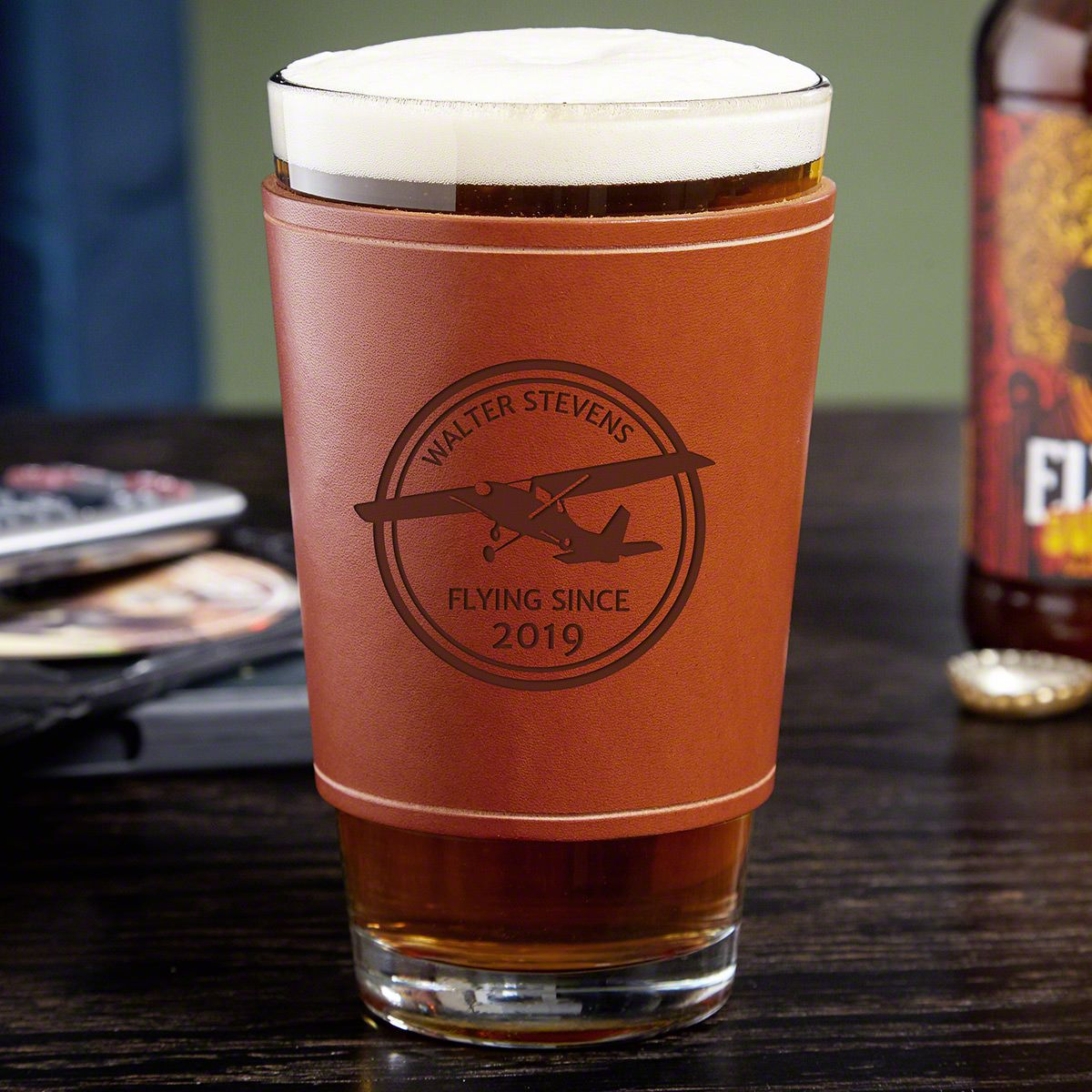 Aviator Leather Wrapped Pint Glass