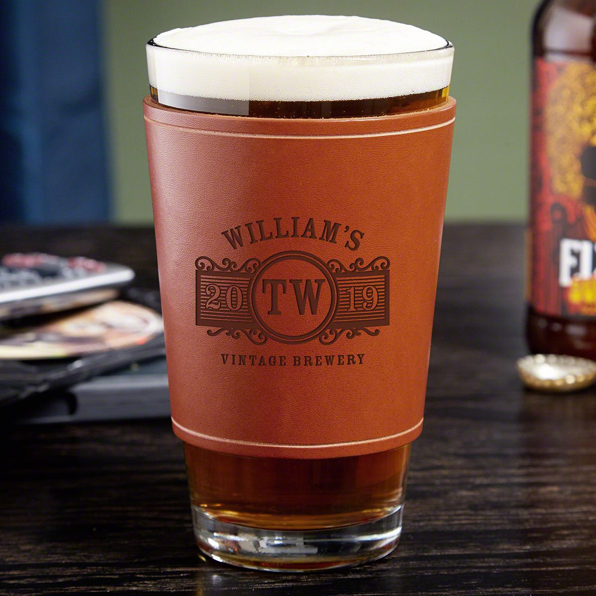 Marquee Leather Wrapped Personalized Pint Glass